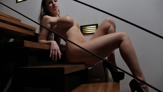 lucia javorcekova, boobs, body, nude, heels, big tits, tits, staircase