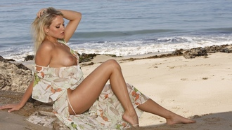 mia malkova, sexy girl, beach, sea, water, sand, hot legs