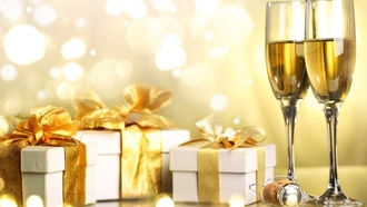 gifts, ribbon, champagne, happy new year, merry christmas, christmas, holiday, boxes