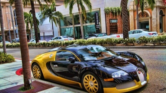 veyron, bugatti, supercar, street, black, yellow, eb