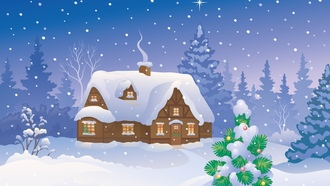 christmas tree, snow, winter home, merry christmas, new year