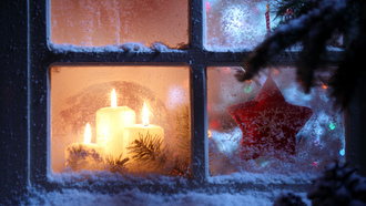 candles, new year, christmas spirit, merry christmas, star, window, snowflake