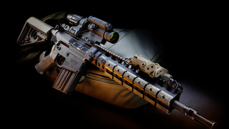 military, laser system, gun, scope, assault rifle