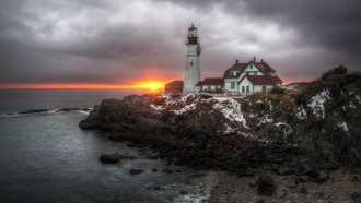 маяк, united states, море, cape elizabeth, maine