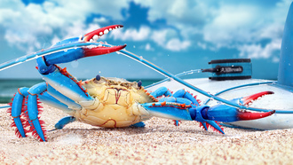 blue crab, render, рендеринг, digital art, краб