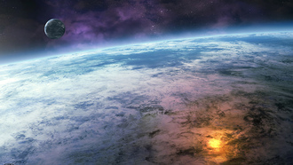 clouds, sci fi, planet, oceans, moon, fire, explosion, close up, stars, water, small planet