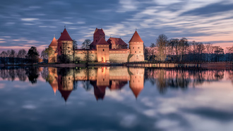 lithuania, отражение, замок, закат, озеро, trakai, литва, тракай