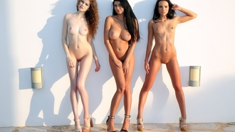 girl, model, blond, brunette, trio