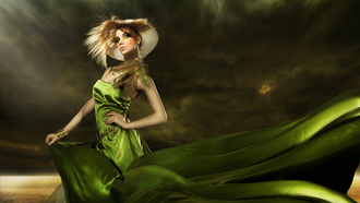 green dress, feathers, hat, elegant hairstyle, makeup, fashionable girl