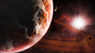 sun, red, kosmos, planet, star, sci fi