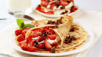 sweet, dessert, food, pancakes, еда, chocolate, блины, strawberries, fruit, десерты