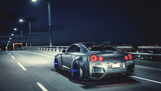 машина, техника, gt-r, nigth, nissan, liberty walk, speed, rear, tuning, road, car