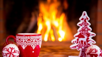 Christmas, Xmas, fire, cup, decoration, Рождество, Новый Год, камин, украшения