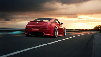 скорость, 350z, nissan, road, red, rear