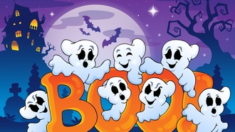 vector art, хэллоуин, bats, boo, funny ghosts, halloween, creepy house, full moon