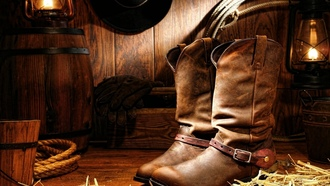 lamp, cord, wood, gloves, cowboy boots, hat