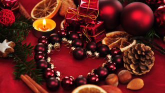 heart, decoration, new year, balls, christmas, ornaments, candle, рождество