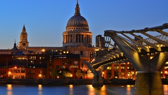 thames, st pauls cathedral, london, england, twilight, англия, uk, millennium bridge