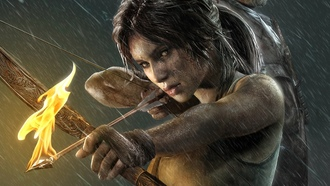 girl, lara kroft, igra, tomb raider, strela, ogony, game
