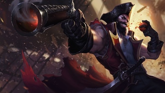 league of legends, gangplank, video games, gun, pirate