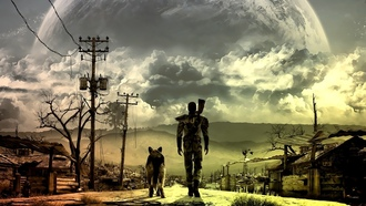 fallout, fallout 4, fallout 3, dog, apocalyptic, moon, video games