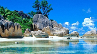 острова, природа, пляж, тропический, породы 2560x1080 pix allpaper anse source dargent, seychelles, la digue, island, nature, beach, tropical, rocks