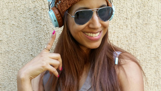 girl, smile, glasses, cap, headphone, lips