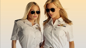 girls, two, blonde, stewardess