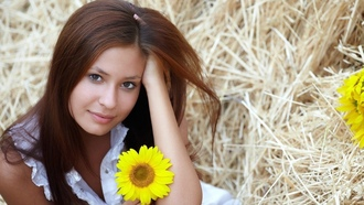 girls, models, girl with yellow flower