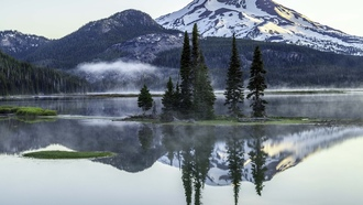sparks lake, deschutes county, oregon, озеро, горы, природа
