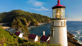 heceta head light, lighthouse, oregon coast, природа, океан, пляж