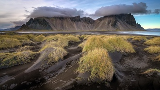 iceland, nature, clouds, mountains, black sand, black beach, volcanic sand, volcanic beach, grass