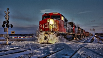 railway, train, winter, freight train, snow, diesel, locomotives