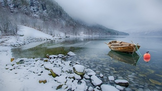 nature, landscape, snow, lake, mountains, winter, boat, mist, calm, cold