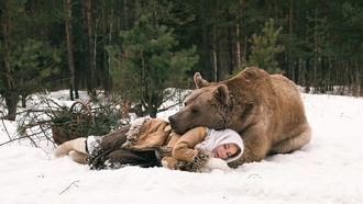 snow, winter, women, animals, bears