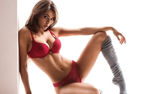 девушка, взгляд, лицо, women, stockings, red lingerie, looking, at viewer, sensual, gaze