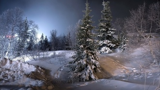 landscape, nature, winter, snow, forest, lights, cold, trees, hills