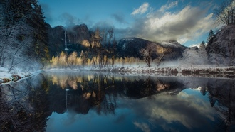 landscape, nature, winter, river, reflection, waterfall, mountains