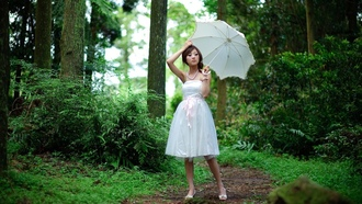 asian, девушки, women, outdoors, белое платье, umbrella