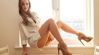 sophia knight, women, brunette, high, heels, blonde, white, clothing
