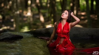 women, model, red dress, river, nature, water