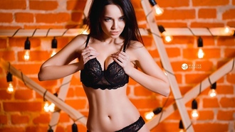 women, angelina petrova, black, lingerie, model, black hair