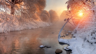 river, snow, sunlight, winter