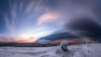 winter, clouds, snow, nature, landscape