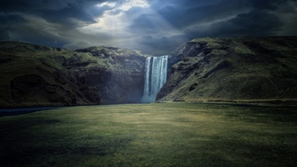 waterfall, nature, river, landscape, sun, rays, cliff, dark, clouds, sunlight, iceland