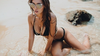 women, brunette, bikini, cleavage, black panties, black bras, wet body, sunglasses, open mouth, sea, evgeny freyer