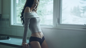 women, skinny, lingerie, flat belly, closed eyes, panties, brunette, long hair, sweater, jason harynuk