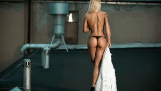 women, model, blonde, human body, back, ass, legs, tattoos, tattoo, panties, thong, cstring thongs, black thong, shoes, heels, high heels, black heels, bare shoulders, bare legs, daniel koper