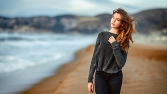 women, model, long hair, women, outdoors, depth of field, wavy, hair, sweater