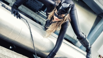 catwoman, leather, knee